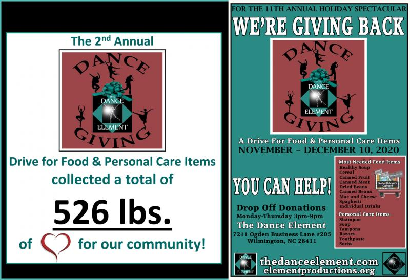 The 2nd Annual Dance Giving food drive in Wilmington NC